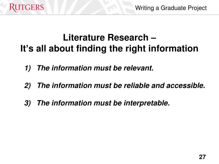 Literature Research –
