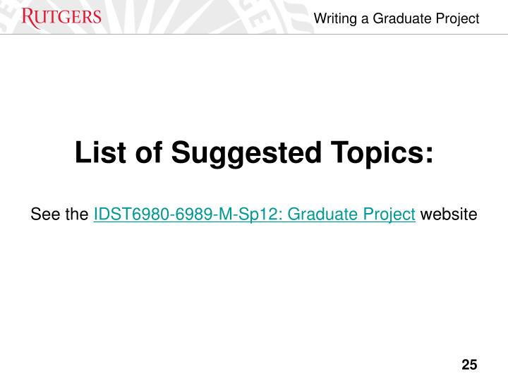 List of Suggested Topics: