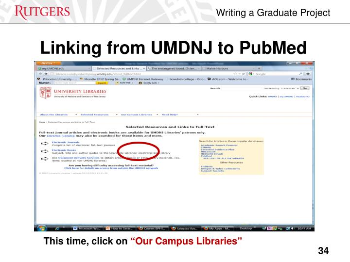 Linking from UMDNJ to