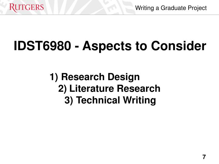 IDST6980 - Aspects to Consider