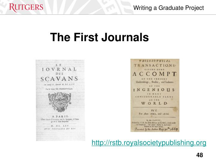The First Journals