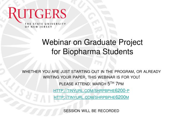 Webinar on graduate project for biopharma students