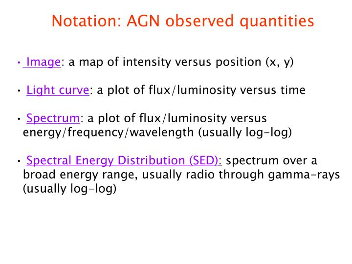 Notation: AGN observed quantities