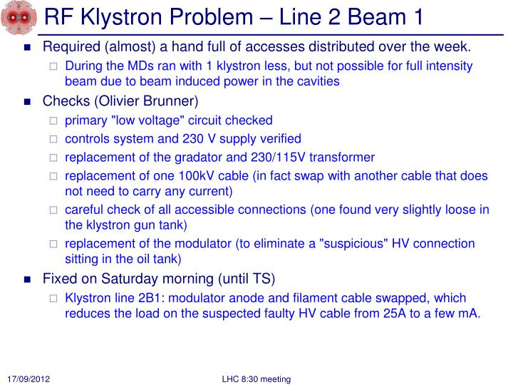 RF Klystron Problem – Line 2 Beam 1