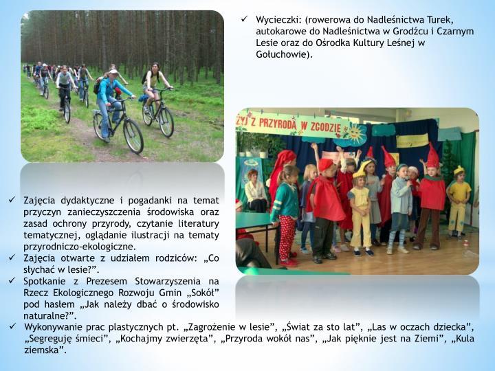 Wycieczki: (rowerowa do Nadleśnictwa Turek, autokarowe do Nadleśnictwa w Grodźcu i Czarnym Lesie oraz do Ośrodka Kultury Leśnej w Gołuchowie).