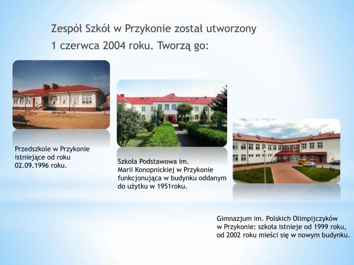 Zespół Szkół w Przykonie został utworzony
