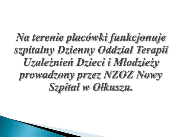 Na terenie placówki funkcjonuje szpitalny Dzienny Oddział Terapii Uzależnień Dzieci i Młodzieży prowadzony przez NZOZ Nowy Szpital w Olkuszu.