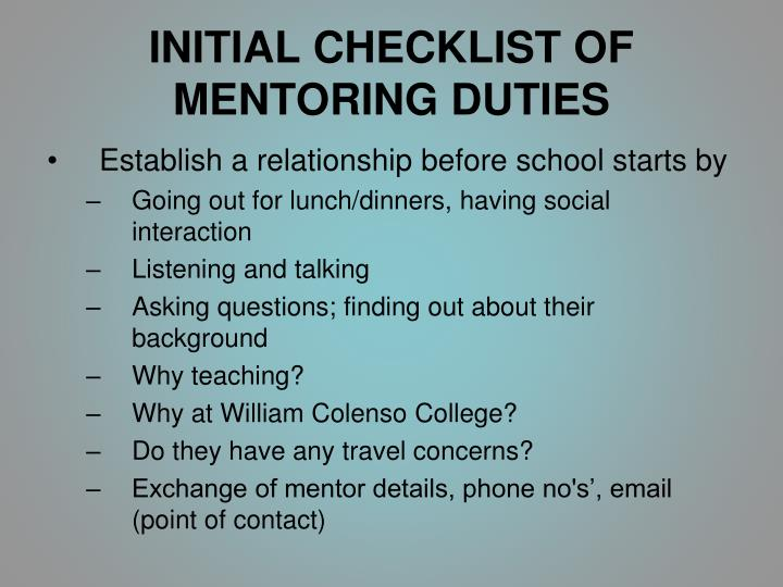 INITIAL CHECKLIST OF MENTORING DUTIES