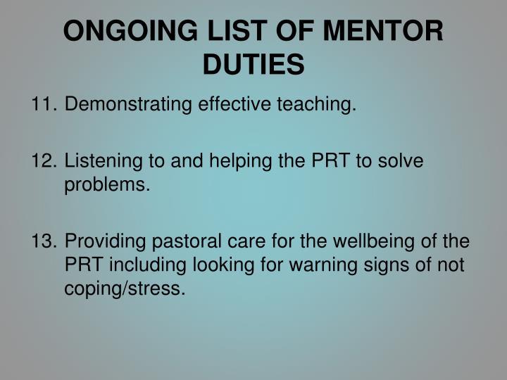 ONGOING LIST OF MENTOR DUTIES