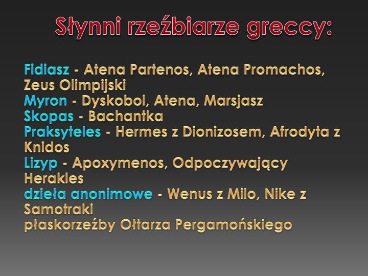 Synni rzebiarze greccy: