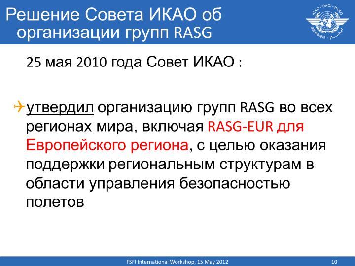 Решение Совета ИКАО об организации групп