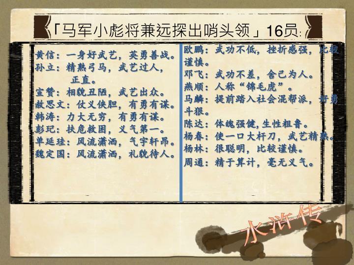 「马军小彪将兼远探出哨头领」16员