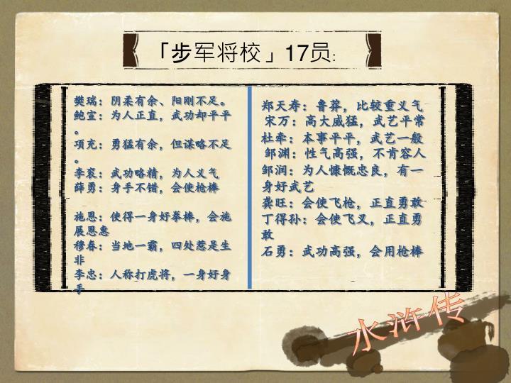 「步军将校」17员