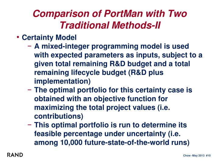 Comparison of PortMan with Two Traditional Methods-II