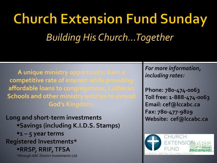 Church extension fund sunday