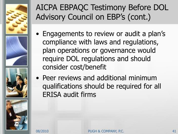 AICPA EBPAQC Testimony Before DOL Advisory Council on EBP's (cont.)