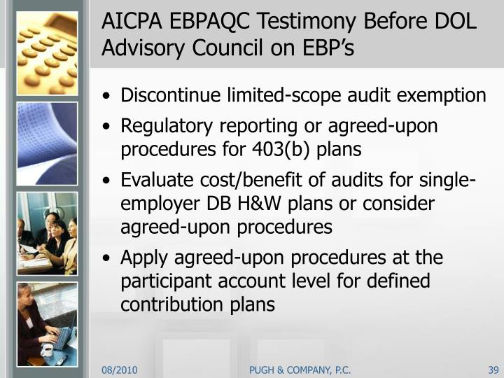 AICPA EBPAQC Testimony Before DOL Advisory Council on EBP's