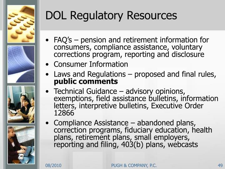DOL Regulatory Resources