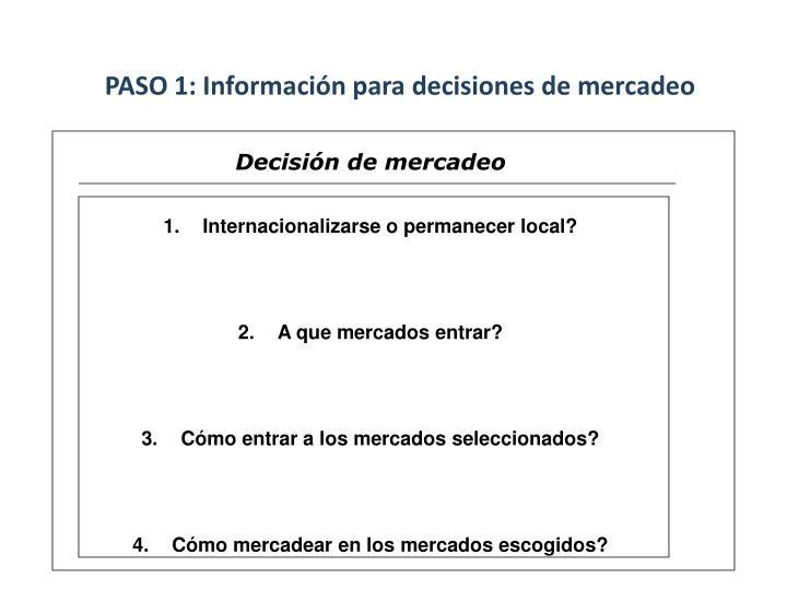 PASO 1: Información para decisiones de mercadeo