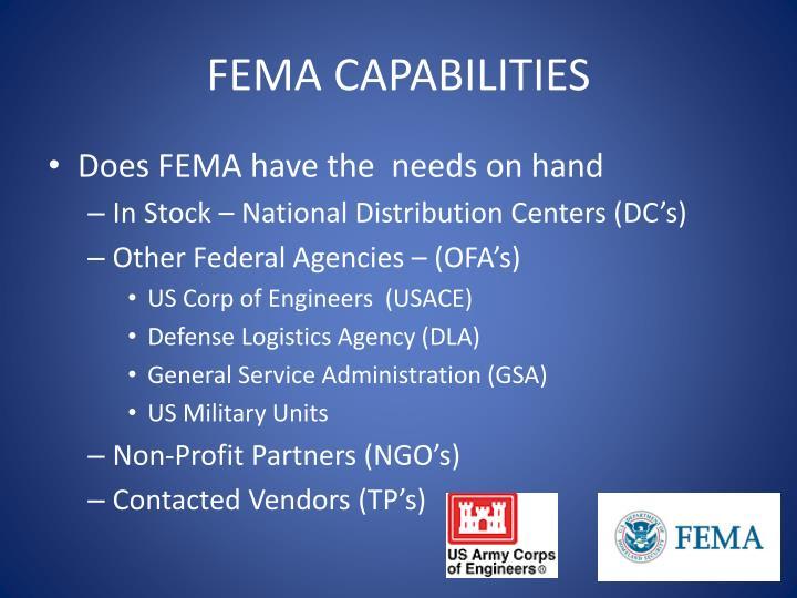 FEMA CAPABILITIES