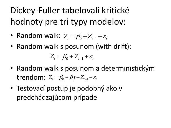 Dickey-Fuller tabelovali kritické hodnoty pre tri typy modelov: