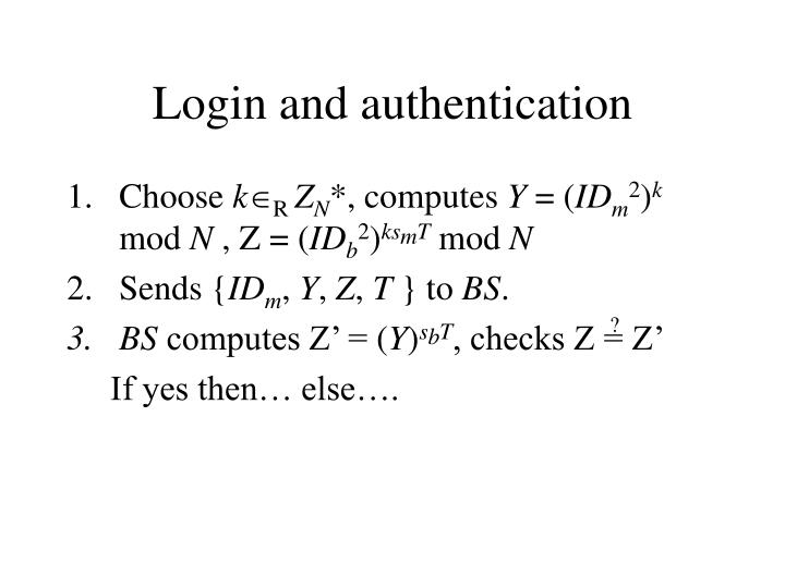 Login and authentication