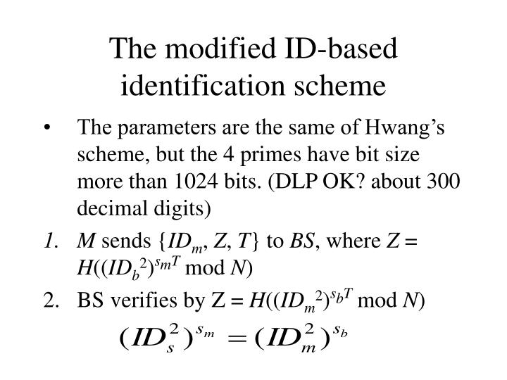 The modified ID-based identification scheme