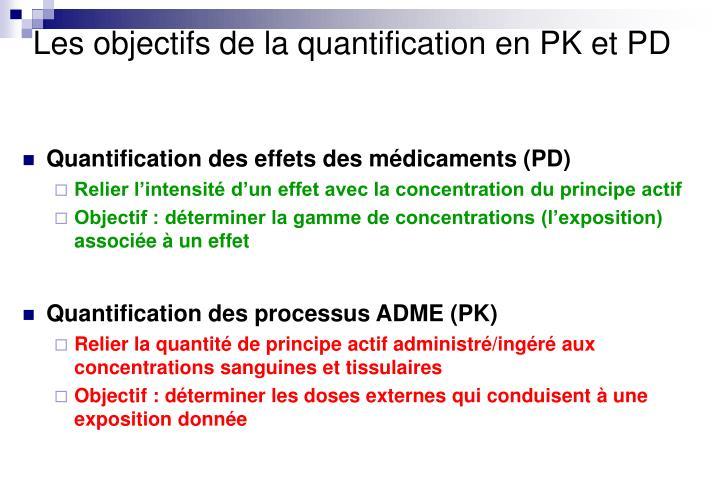 Les objectifs de la quantification en PK et PD
