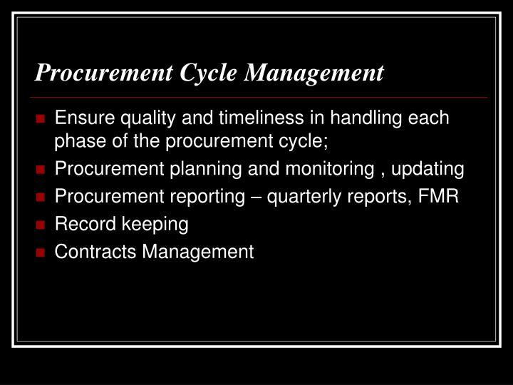 Procurement Cycle Management
