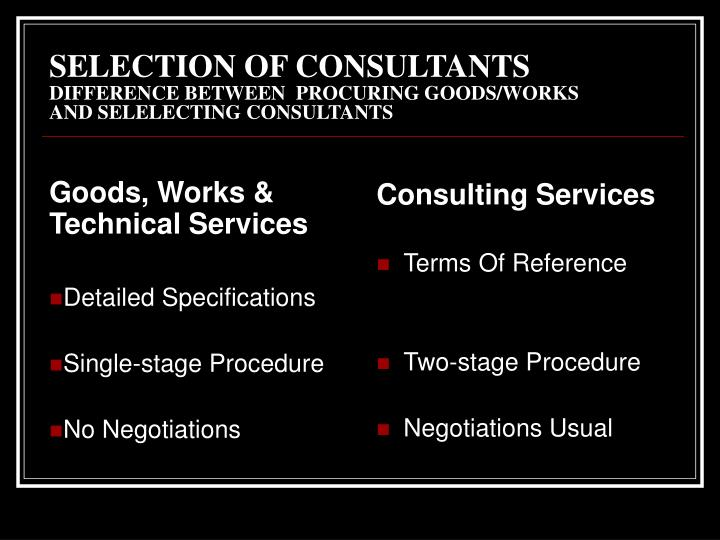 Goods, Works & Technical Services