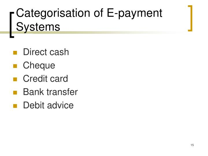 Categorisation of E-payment Systems
