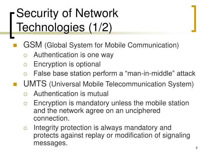 Security of Network Technologies (1/2)
