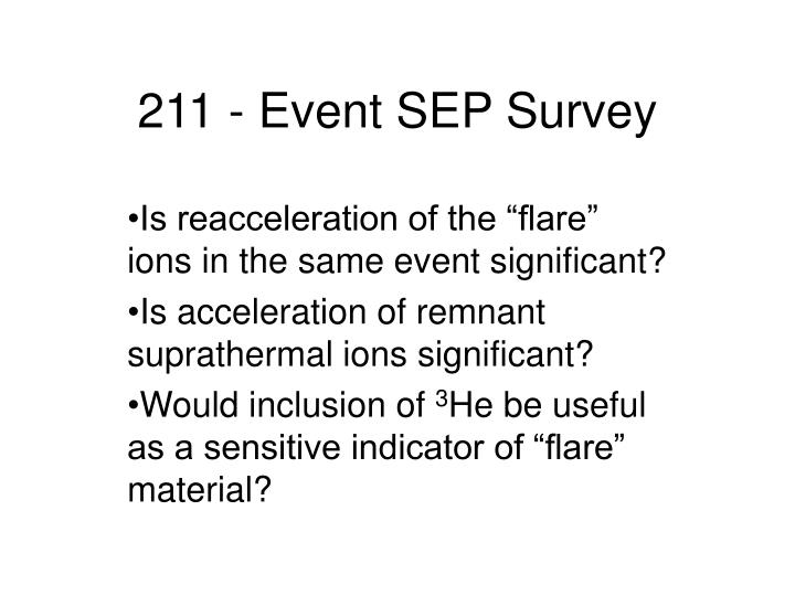 211 - Event SEP Survey