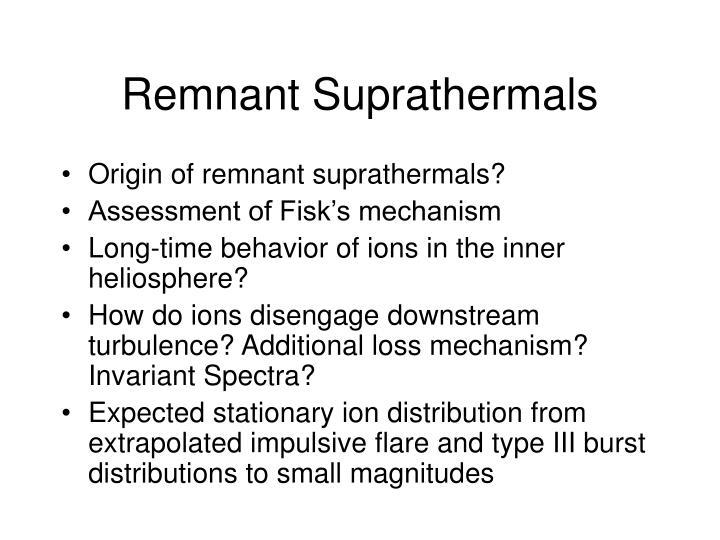 Remnant Suprathermals