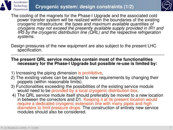 Cryogenic system: design constraints (1/2)