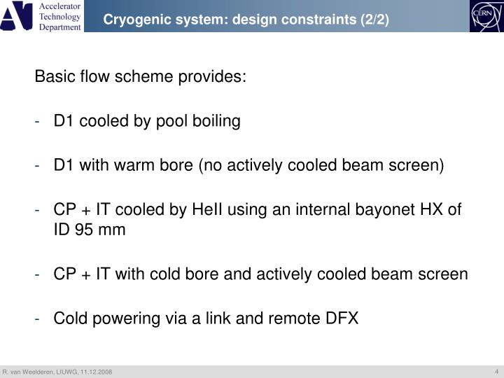 Cryogenic system: design constraints (2/2)