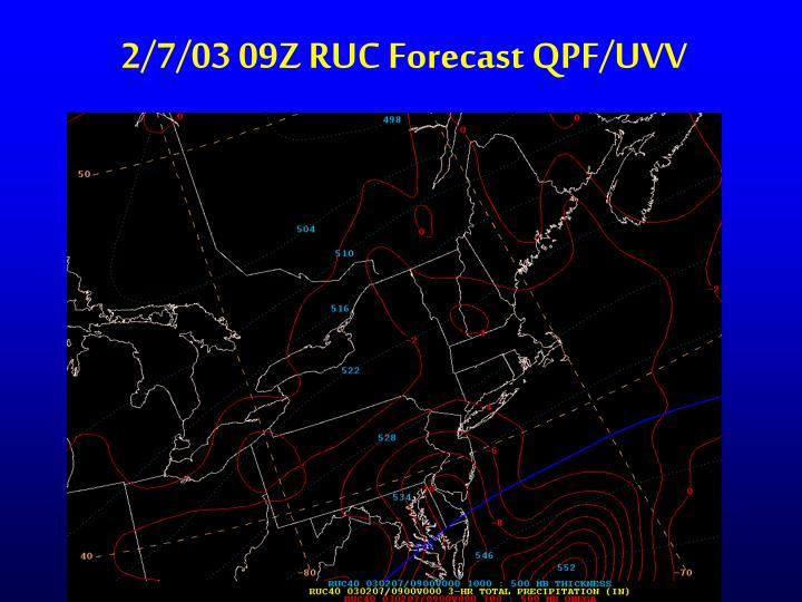 2/7/03 09Z RUC Forecast QPF/UVV