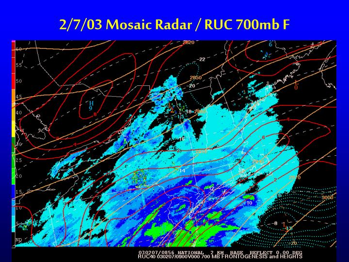 2/7/03 Mosaic Radar / RUC 700mb F