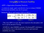 using epv to measure stability