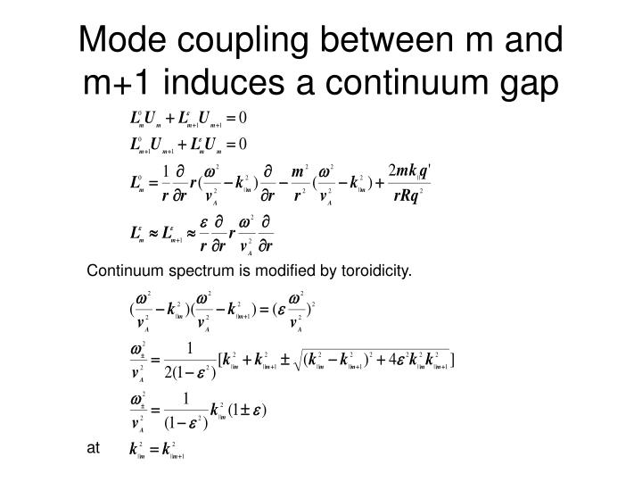 Mode coupling between m and m+1 induces a continuum gap
