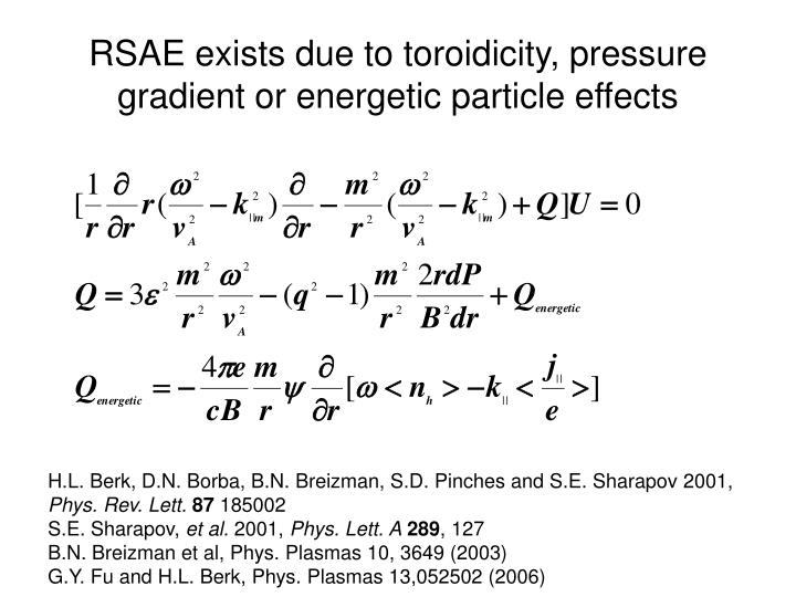 RSAE exists due to toroidicity, pressure gradient or energetic particle effects