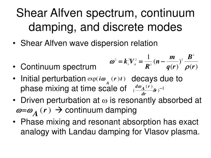 Shear Alfven spectrum, continuum damping, and discrete modes
