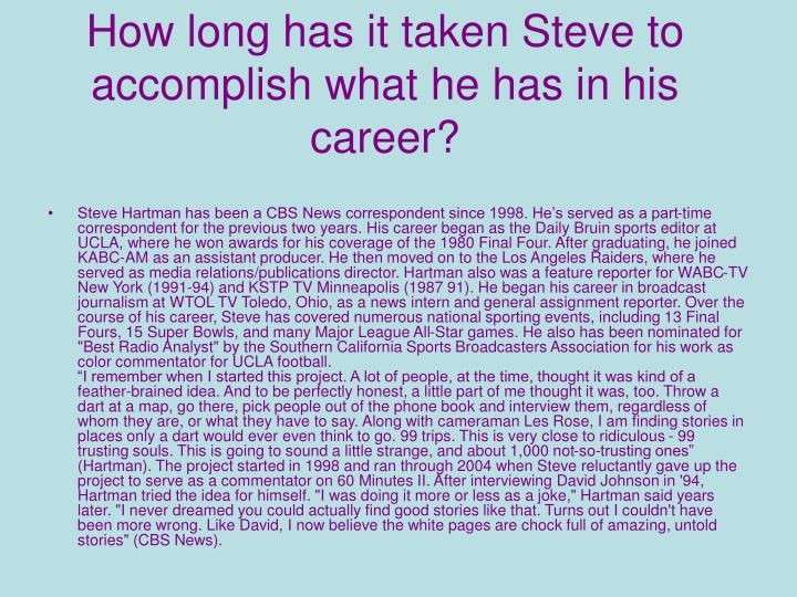 How long has it taken Steve to accomplish what he has in his career?