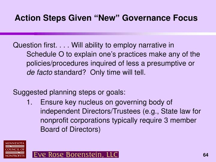"Action Steps Given ""New"" Governance Focus"