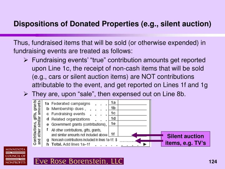 Dispositions of Donated Properties (e.g., silent auction)