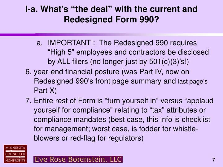 "I-a. What's ""the deal"" with the current and Redesigned Form 990?"