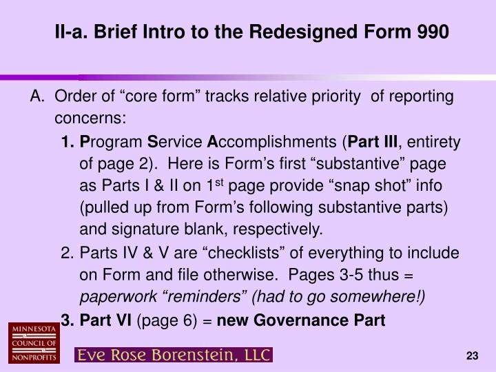 II-a. Brief Intro to the Redesigned Form 990
