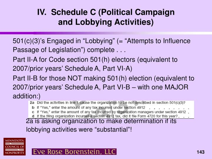 IV.  Schedule C (Political Campaign