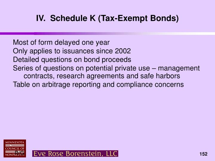 IV.  Schedule K (Tax-Exempt Bonds)