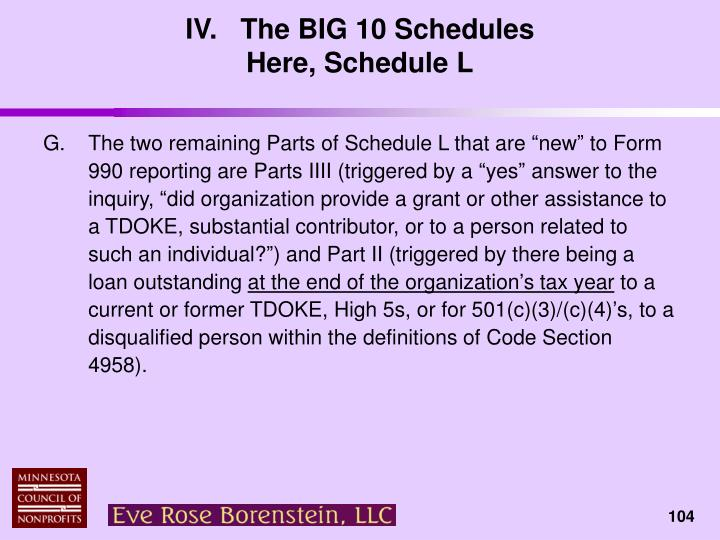 IV.   The BIG 10 Schedules
